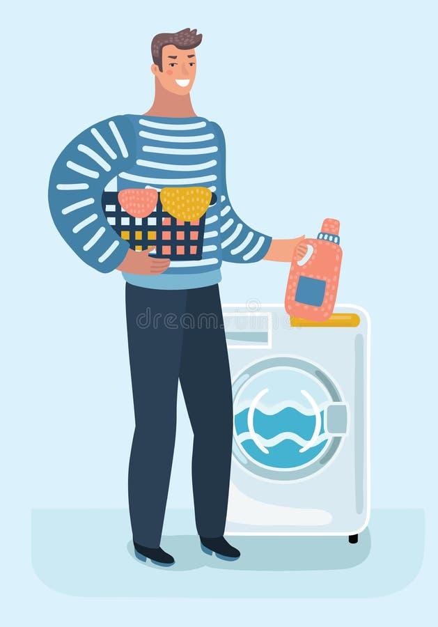 Szczęśliwy młody człowiek trzyma pralnianego kosz robi obowiązek domowy z pralką ilustracji
