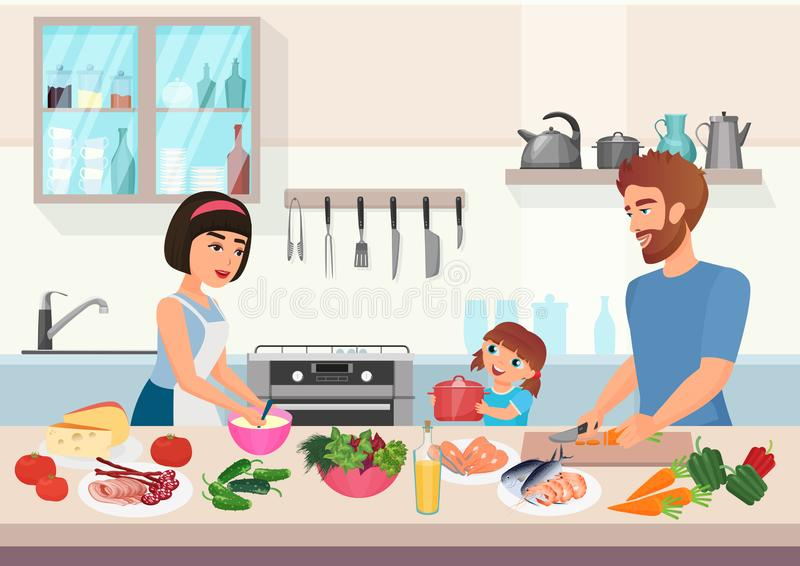 Szczęśliwy młody rodzinny kucharstwo Ojca, matki i córki dzieciaka kucharza naczynia w kuchennej kreskówka wektoru ilustracji, royalty ilustracja