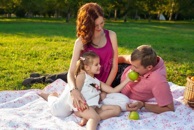 Szczęśliwy młody rodzinny mieć pinkin przy łąką zdjęcia royalty free