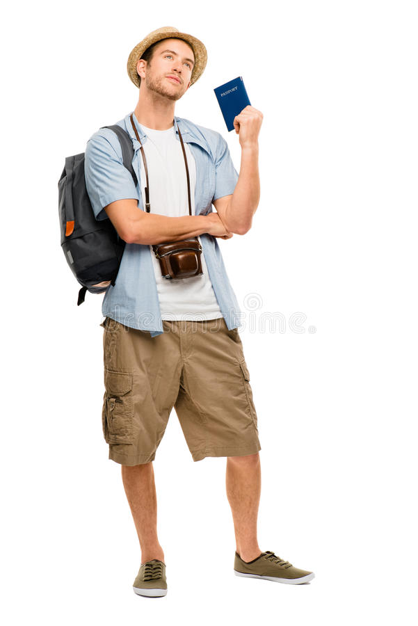 Szczęśliwy młody turystycznej podróży paszport odizolowywał białego tło fotografia royalty free