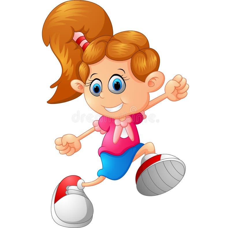 Szczęśliwy małej dziewczynki odprowadzenie royalty ilustracja