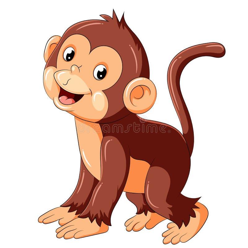 Szczęśliwy małpi kreskówki odprowadzenie royalty ilustracja