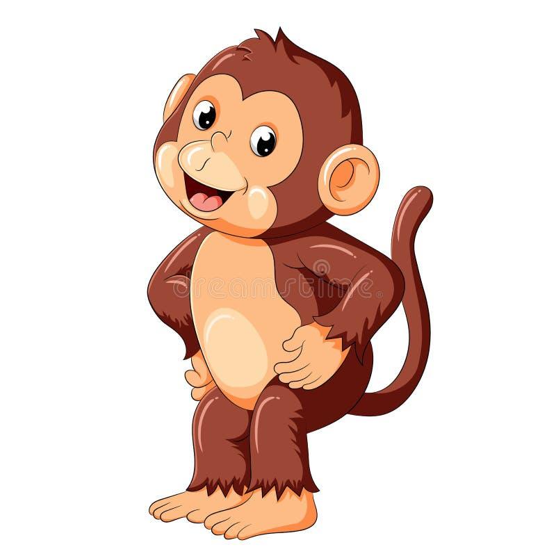 Szczęśliwy małpi taniec i uśmiech ilustracji