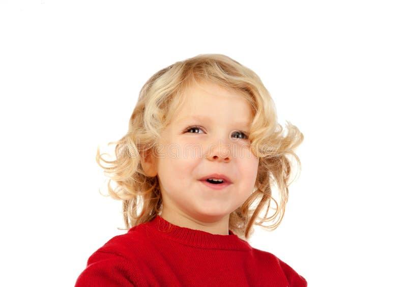 Szczęśliwy mały blondynu dzieciak fotografia stock