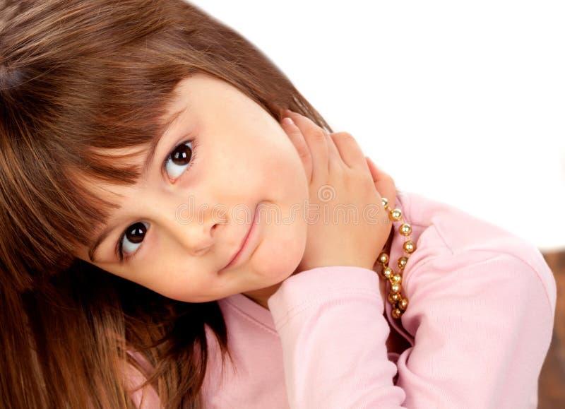 Szczęśliwy mały dziewczyny ono uśmiecha się obrazy stock