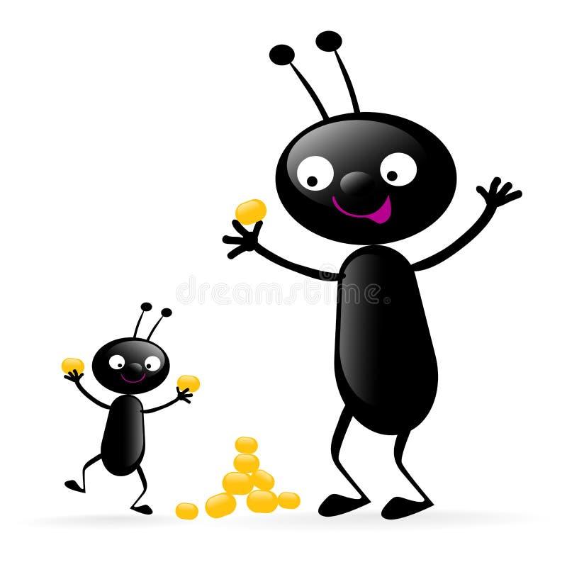 szczęśliwy mały robaki royalty ilustracja