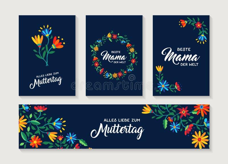 Szczęśliwy Macierzystego dnia kwiatu kartka z pozdrowieniami niemiecki set royalty ilustracja