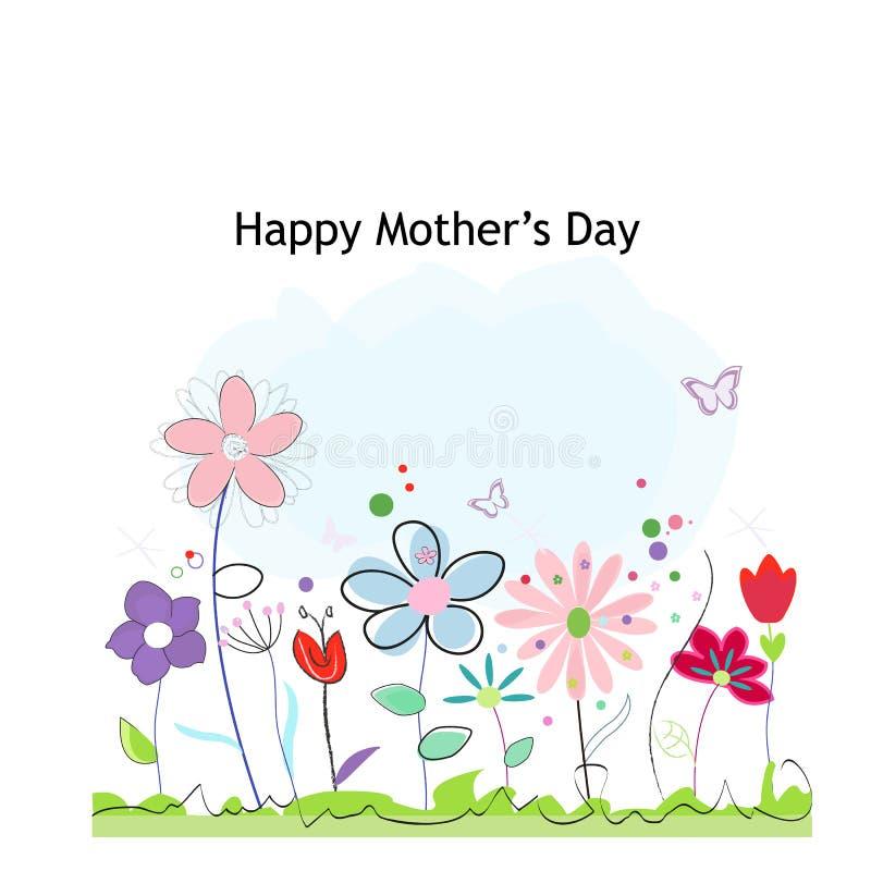 Szczęśliwy Macierzysty ` s dnia kartka z pozdrowieniami z kolorowym wiosna czasem kwitnie błękitny karcianego projekta kwiecisty  ilustracja wektor