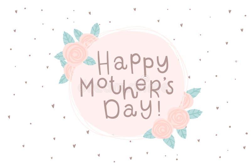 Szczęśliwy Macierzysty ` s dnia kartka z pozdrowieniami z kwiatami w różowych kolorach royalty ilustracja