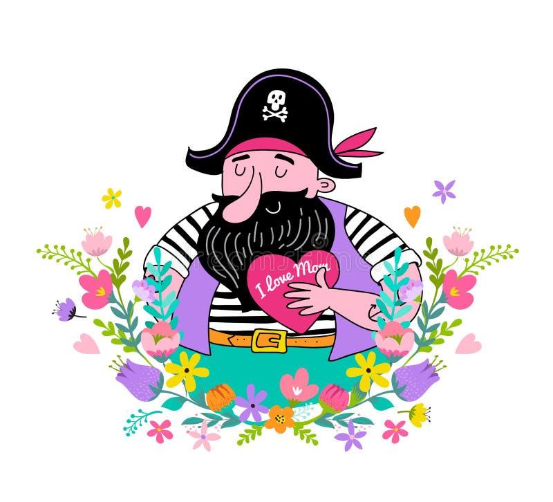 Szczęśliwy Macierzysty ` s dnia tło, sztandar i ilustracja z, pirata mienia kwiatami i sercem royalty ilustracja