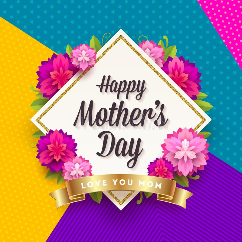 Szczęśliwy macierzysty ` s dzień - kartka z pozdrowieniami Rama z powitaniem, kwiatami i złotym faborkiem na deseniowym tle, ilustracja wektor