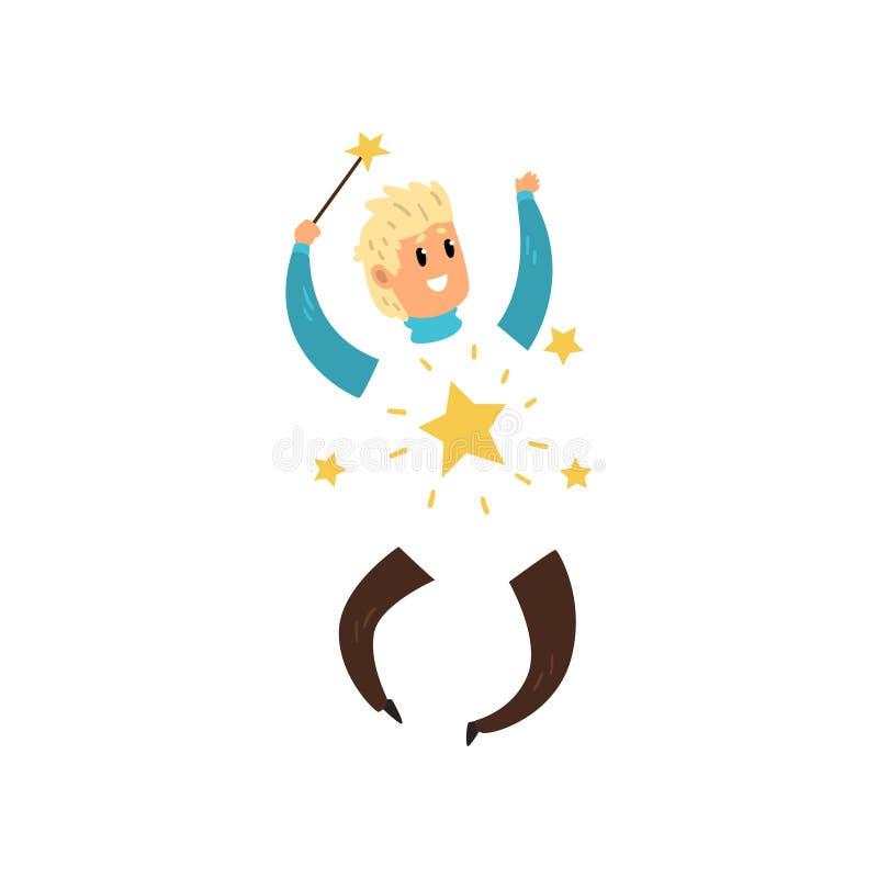 Szczęśliwy magik z niewidzialnym ciałem Młody człowiek z magiczną różdżką w ręce Jaśnienie gwiazdy Płaski wektorowy projekt ilustracja wektor