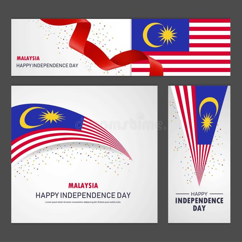 Szczęśliwy Malezja dnia niepodległości sztandar i tło set ilustracji