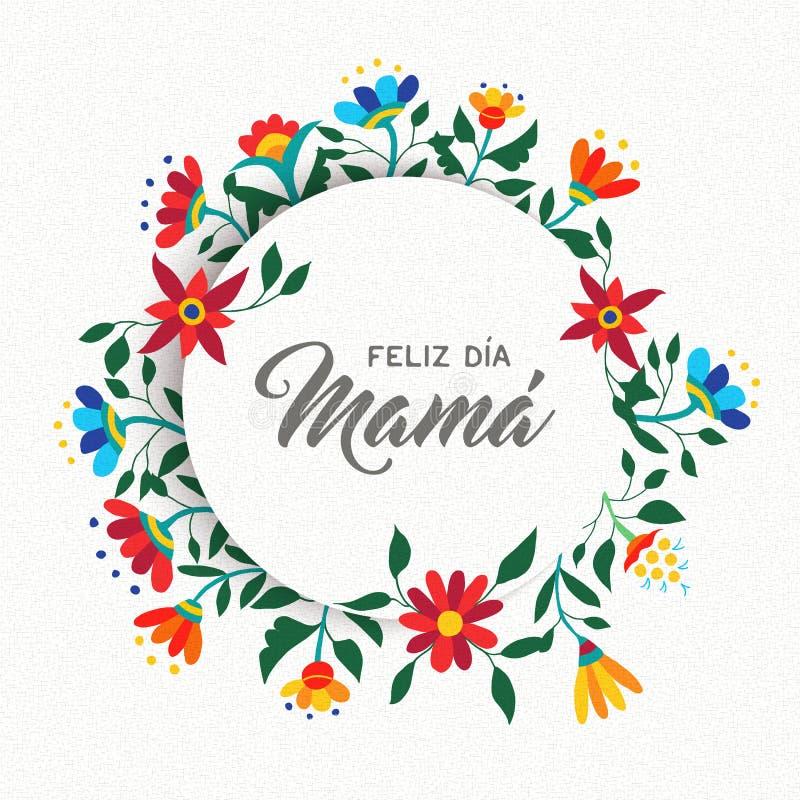 Szczęśliwy matka dnia hiszpański kwiecisty kartka z pozdrowieniami ilustracji