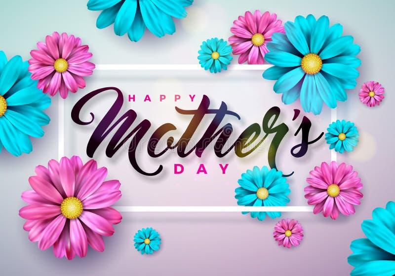 Szczęśliwy matka dnia kartka z pozdrowieniami z kwiatem na różowym tle Wektorowego świętowania Ilustracyjny szablon z royalty ilustracja