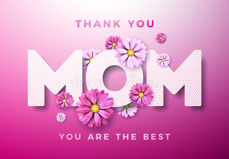 Szczęśliwy matka dnia kartka z pozdrowieniami projekt z kwiatem i Dziękuje Ciebie mama typograficzni elementy na różowym tle wekt ilustracja wektor