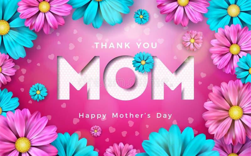 Szczęśliwy matka dnia kartka z pozdrowieniami projekt z kwiatem i typograficzni elementy na różowym tle Kocham Ciebie mama wektor ilustracji