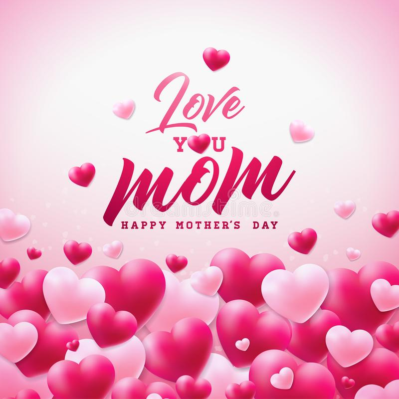 Szczęśliwy matka dnia kartka z pozdrowieniami projekt z sercem i Kocha Ciebie mama typograficzni elementy na białym tle wektor ilustracji
