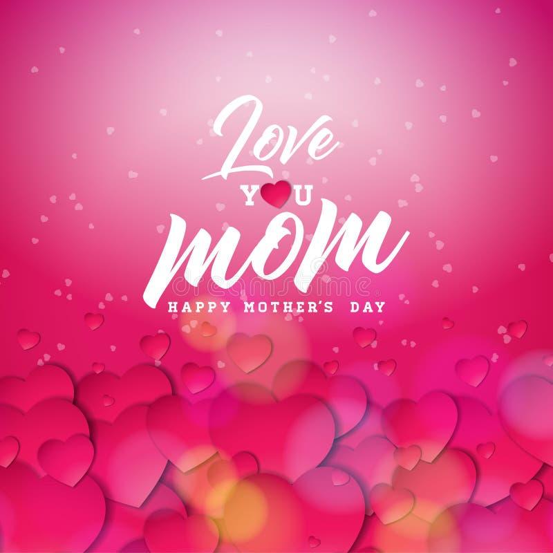 Szczęśliwy matka dnia kartka z pozdrowieniami projekt z sercem i Kocha Ciebie mama typograficzni elementy na czerwonym tle wektor ilustracji