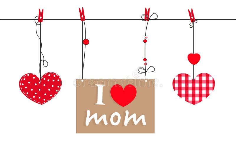 Szczęśliwy matka dnia kartka z pozdrowieniami z wiszącym sercem i ja kochamy was teksta wektoru tło ilustracji