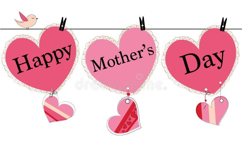 Szczęśliwy matka dnia kartka z pozdrowieniami z wiszącym sercem i ja kochamy was teksta wektoru tło royalty ilustracja