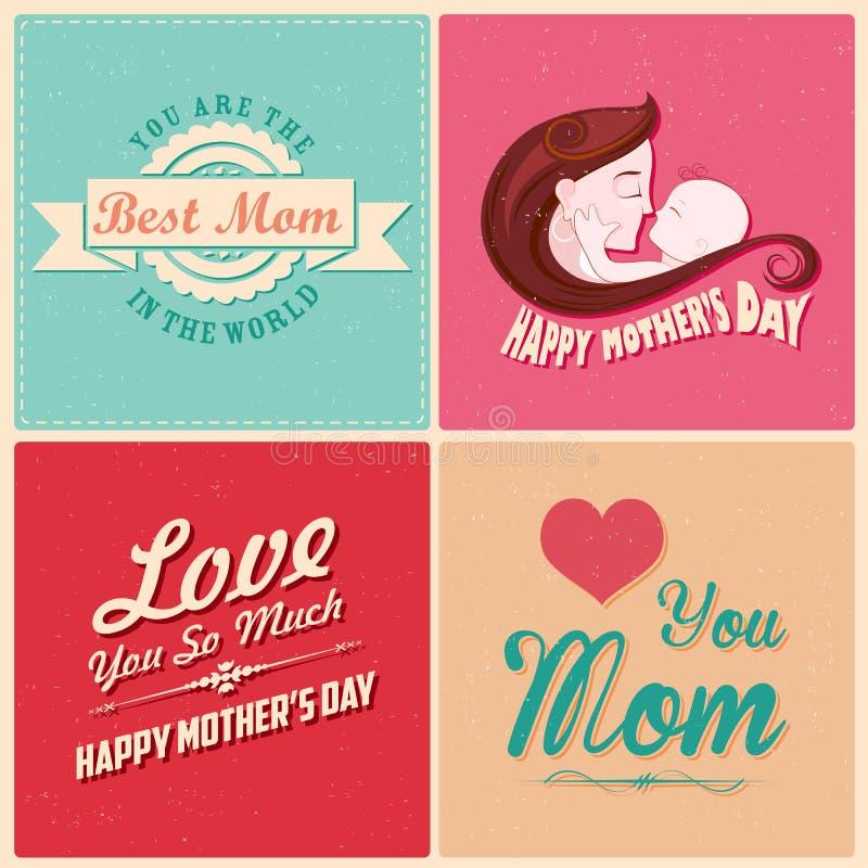 Szczęśliwy matka dnia karty szablon royalty ilustracja