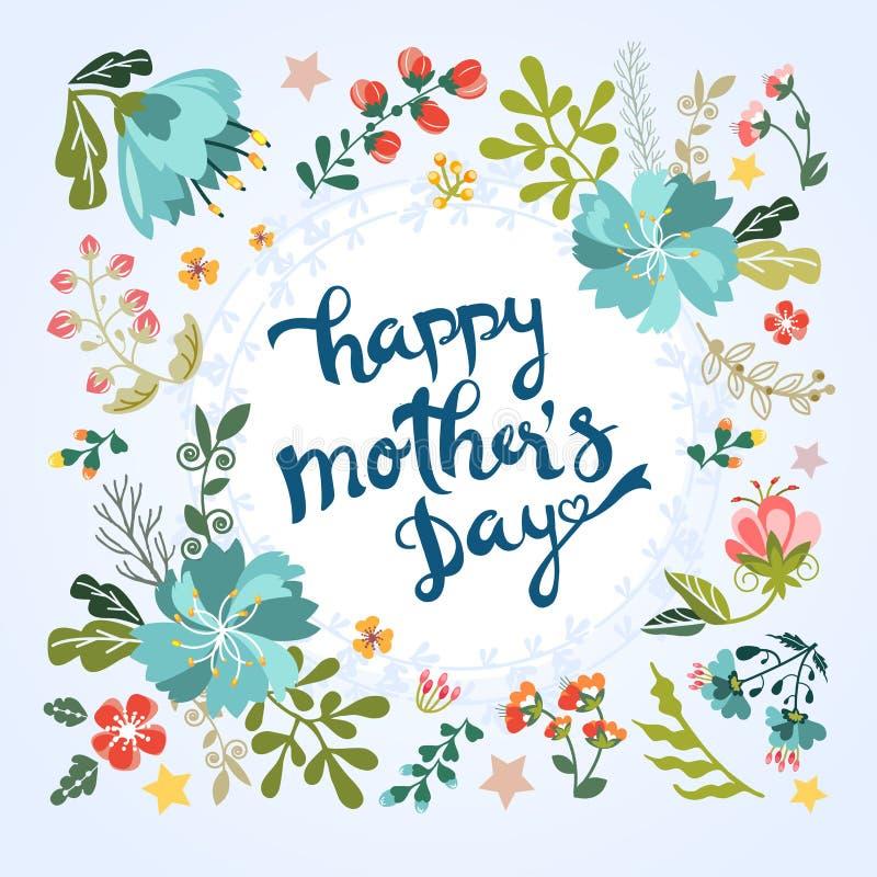 Szczęśliwy matka dnia kwiecisty powitanie royalty ilustracja