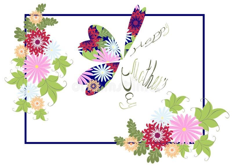 Szczęśliwy matka dnia kwiecisty powitanie z abstrakcjonistycznym motylem EPS10 wektorowa ilustracja ilustracja wektor