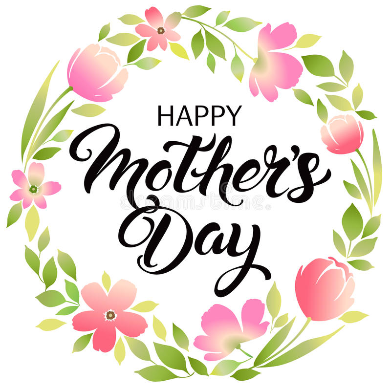 Szczęśliwy matka dnia literowania kartka z pozdrowieniami z obniża ilustracji