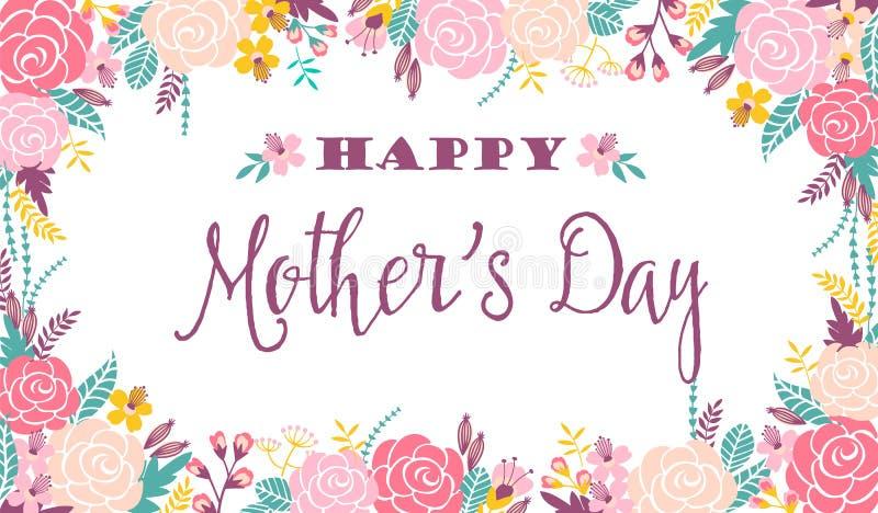 Szczęśliwy matka dnia literowania powitania sztandar z kwiatami ilustracja wektor