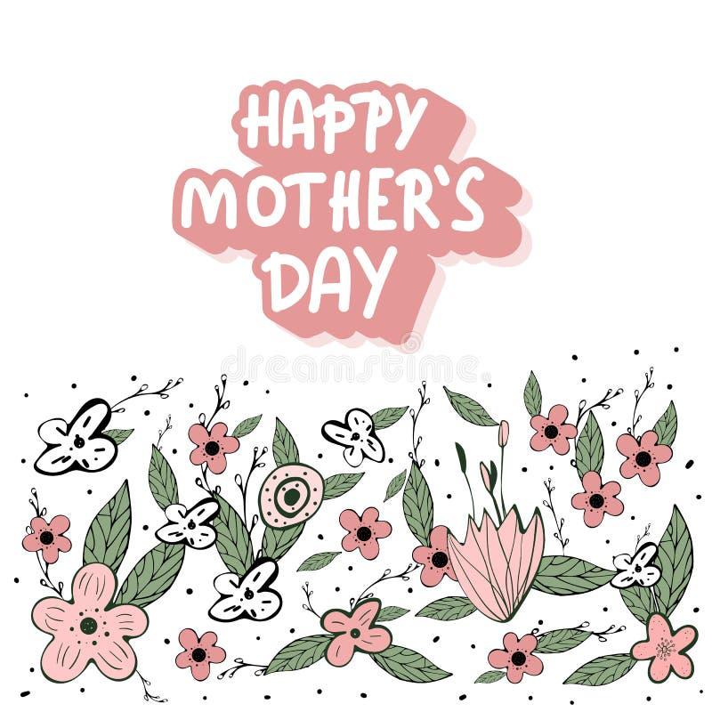 Szczęśliwy matka dnia literowanie z dzikimi kwiatami ilustracja wektor