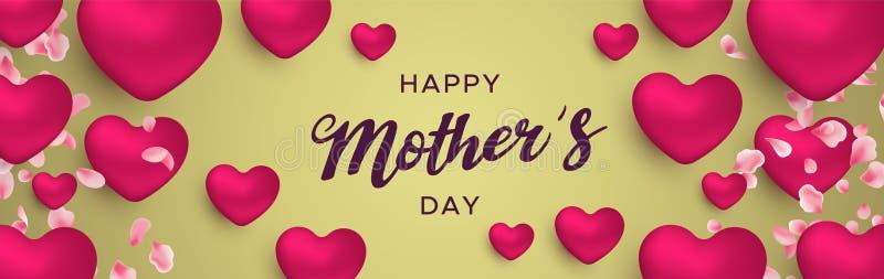Szczęśliwy matka dnia sztandar różowi kierowi balony royalty ilustracja