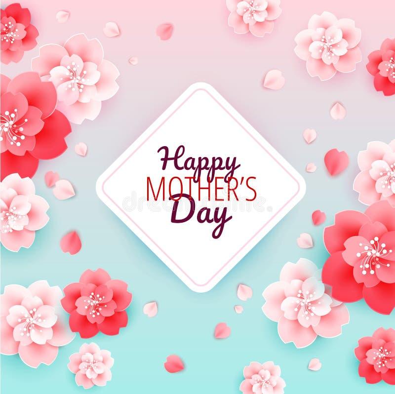 Szczęśliwy matka dnia tło z kwiatami - wektorowa ilustracja ilustracja wektor