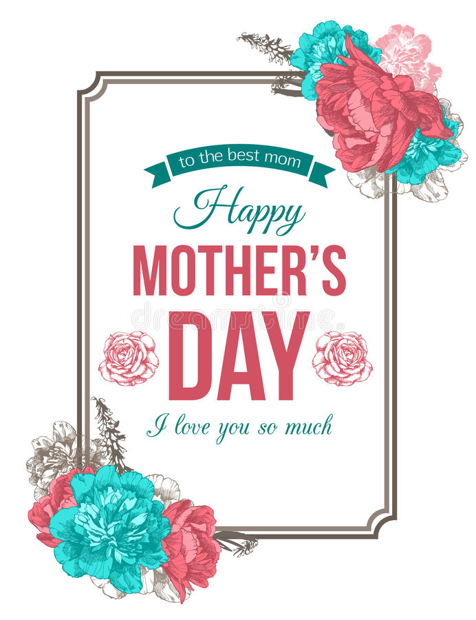Szczęśliwy matka dnia Typographical tło ilustracji