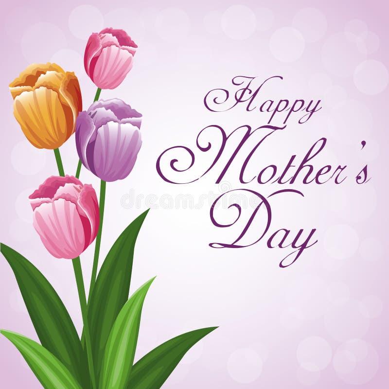 Szczęśliwy matka dnia wiązki kwiatu tulipanu piękno royalty ilustracja