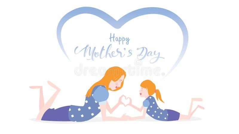 Szczęśliwy matka dzień! Śliczna dziecko córka gratuluje mama tana, bawić się, śmiający się i pokazywać, kierowego kształta symbol royalty ilustracja