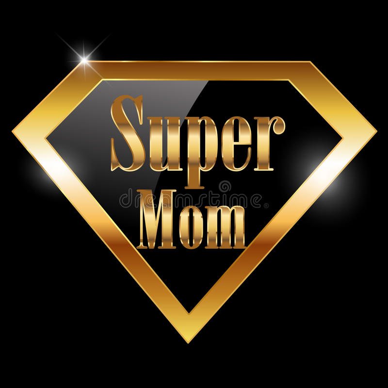 Szczęśliwy matka dzień, kocham mamy kartka z pozdrowieniami z super bohatera złotym tekstem royalty ilustracja
