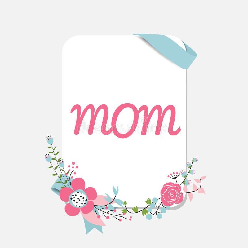 Szczęśliwy matka dzień, Kwieciści bukiety z faborkiem i serce, vecto ilustracja wektor