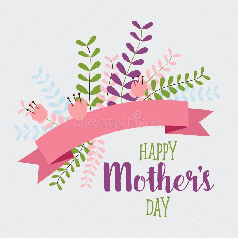 Szczęśliwy matka dzień, Kwieciści bukiety z faborkiem, wektorowy illustra ilustracji