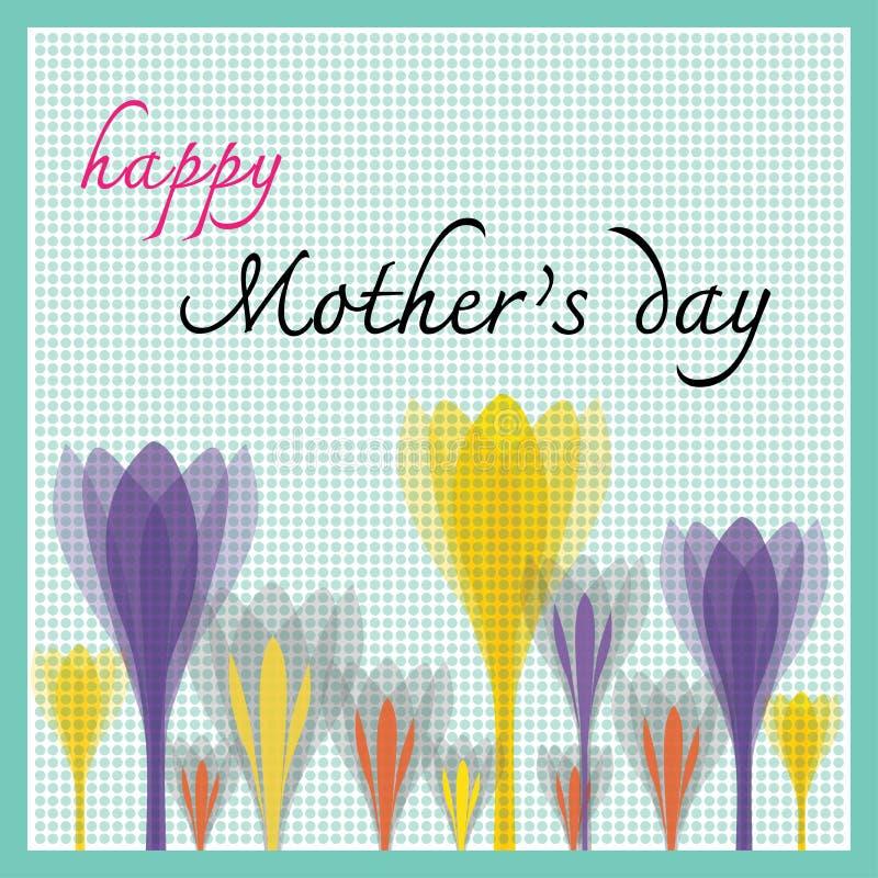 Szczęśliwy matka dzień z tulipanu i kropki wzorem royalty ilustracja