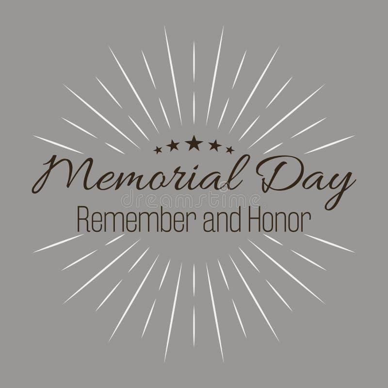 Szczęśliwy Memorial Day! Pamięta i Honoruje! Literowanie wektorowa ilustracja na popielatym tle ilustracja wektor