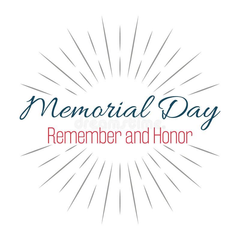 Szczęśliwy Memorial Day! Pamięta i Honoruje! Literowanie wektoru ilustracja ilustracja wektor