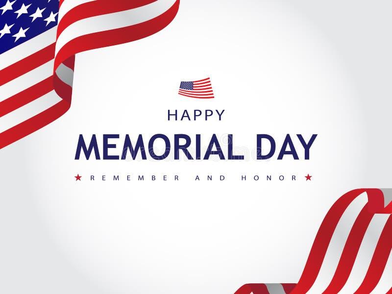 Szczęśliwy Memorial Day Pamięta tekst Typograficznego i Honoruje, Karciany, sztandar, Tapetowa Wektorowa ilustracja ilustracji