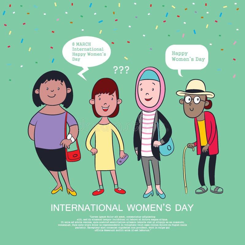 Szczęśliwy międzynarodowy kobieta dzień, kobiety kreskówki wektorowa ilustracja, plakat lub sztandaru projekt, ilustracja wektor