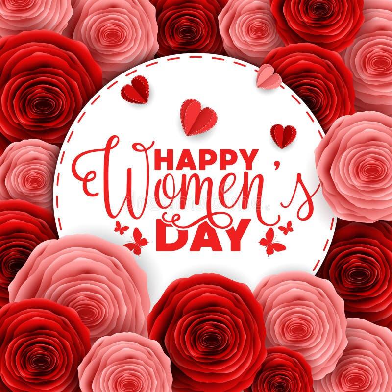 Szczęśliwy międzynarodowy kobiety ` s dnia kartka z pozdrowieniami z papier rżniętymi różami kwitnie i round ramy przestrzeń dla  ilustracja wektor