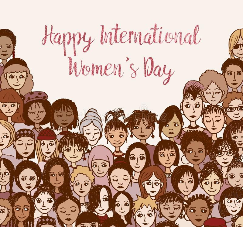 Szczęśliwy Międzynarodowy kobiety ` s dzień - ręka rysujący doodle stawia czoło ilustracja wektor