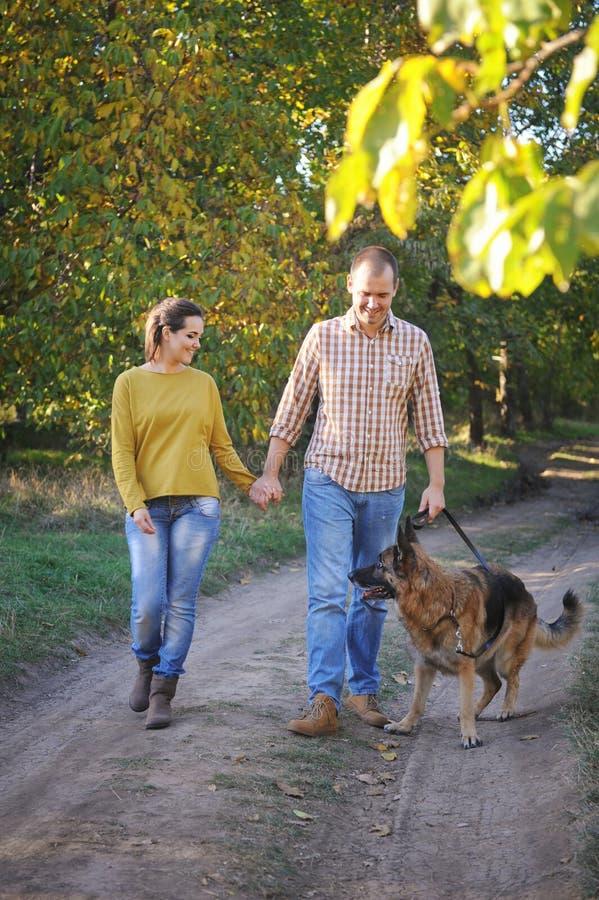 Szczęśliwy miłości pary odprowadzenie w parku z ich niemieckim pasterskim psem, mienie ręki zdjęcie stock