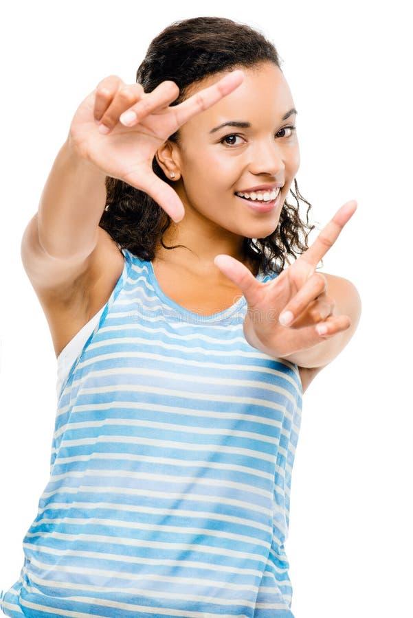 Szczęśliwy mieszany biegowy kobieta pokoju znak odizolowywający fotografia stock