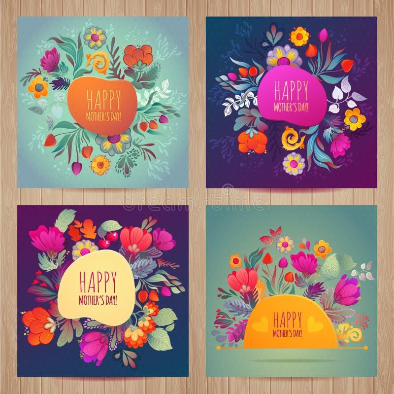 Szczęśliwy Mothers dnia kartka z pozdrowieniami set