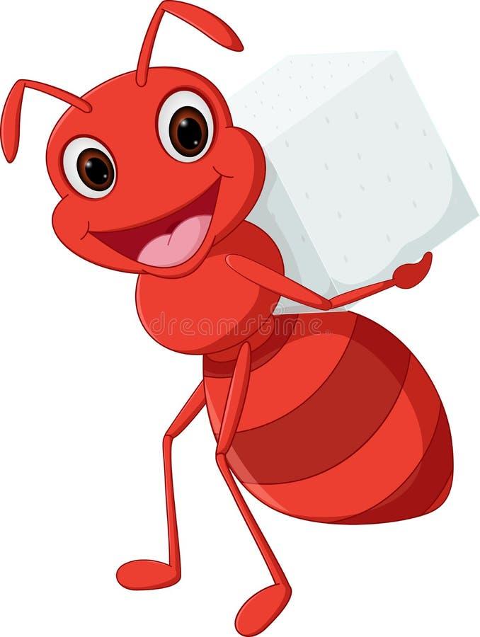 Szczęśliwy mrówki kreskówki przewożenia cukier ilustracja wektor